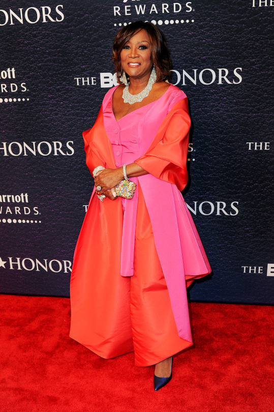 Patti LaBelle was sophiscated in pink and orange