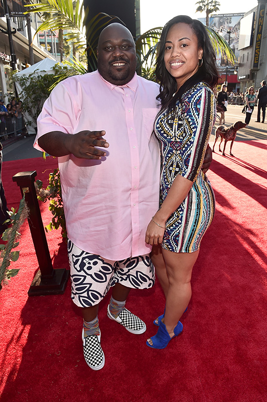 """HOLLYWOOD, CALIFORNIA - APRIL 04: Actor Faizon Love (L) attends The World Premiere of Disney's """"THE JUNGLE BOOK"""" at the El Capitan Theatre on April 4, 2016 in Hollywood, California. (Photo by Alberto E. Rodriguez/Getty Images for Disney) *** Local Caption *** Faizon Love"""