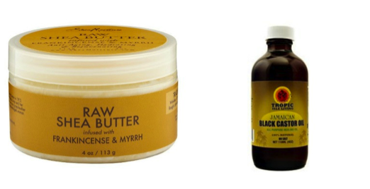 raw shea-butter and black castor oil